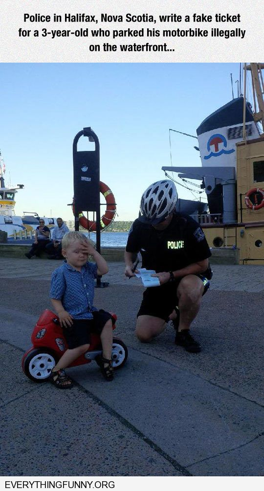 funny caption three year old gets ticket from police