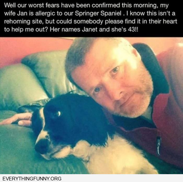 funny caption wife allergic to dog please take wife husband funny ad