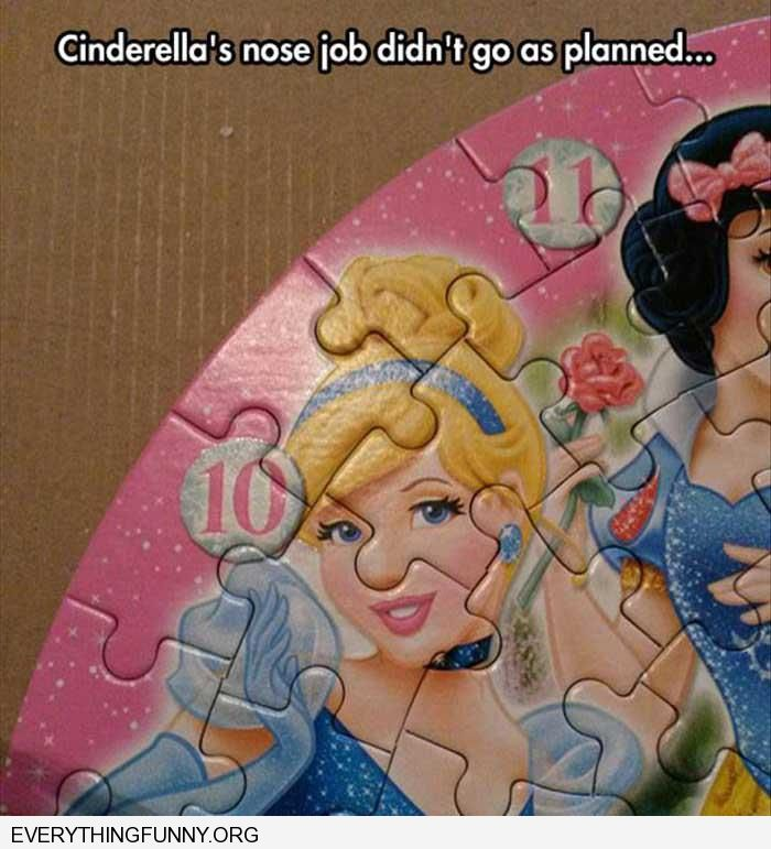 funny puzzle makes cinderella looks like she needs a nose job