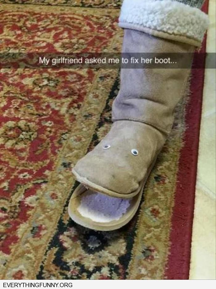 funnyman makes face out of girlfriends broken boot