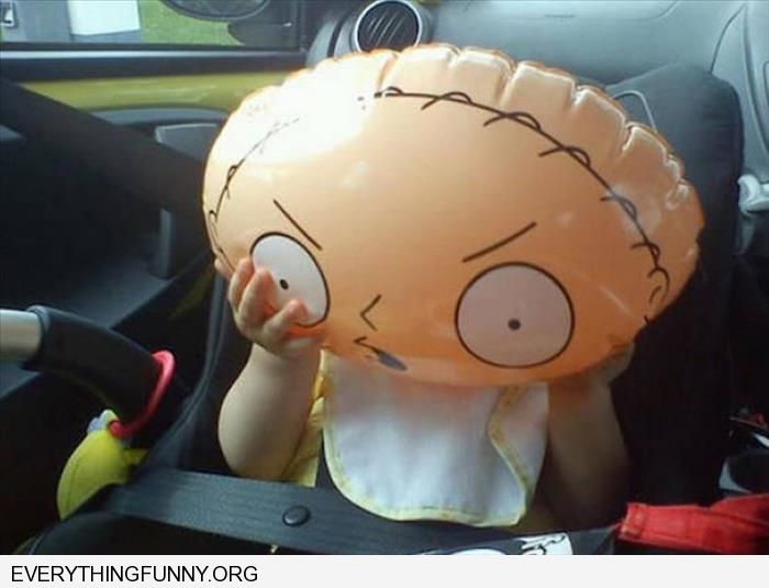 funny caption balloon makes little boy look like stewie from the family guy