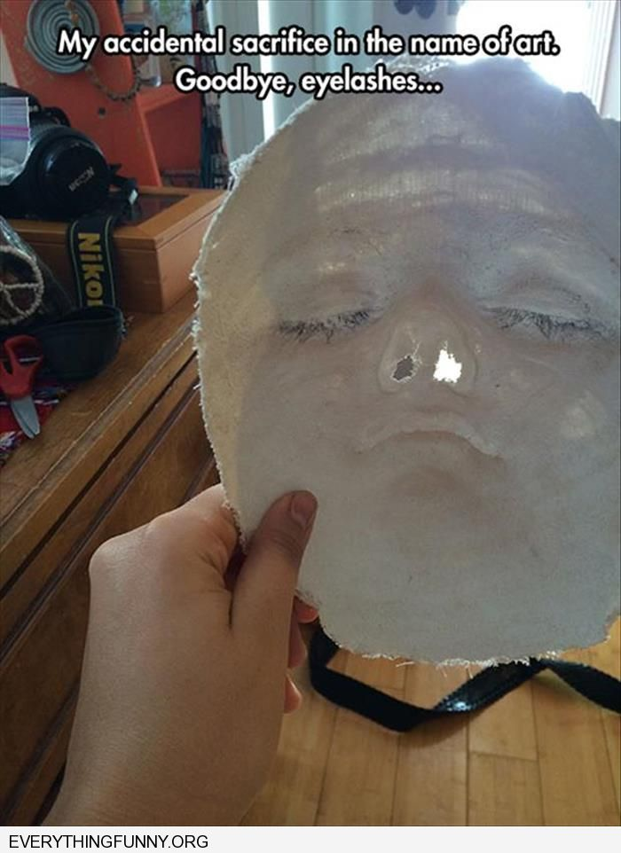 funny plaster mask took off eyelashes by mistake