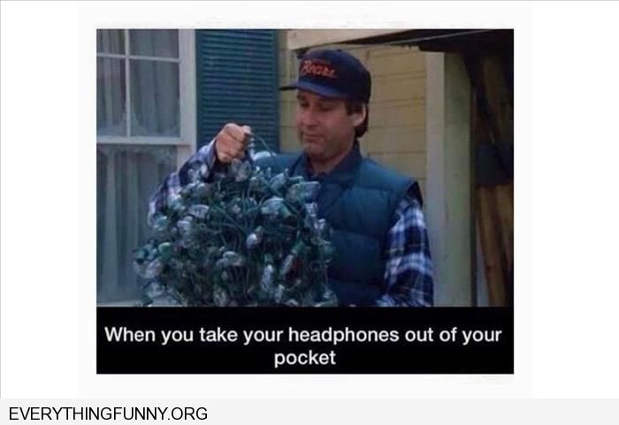 funny caption tangled christmas lights when i take my headphones out of my pocket