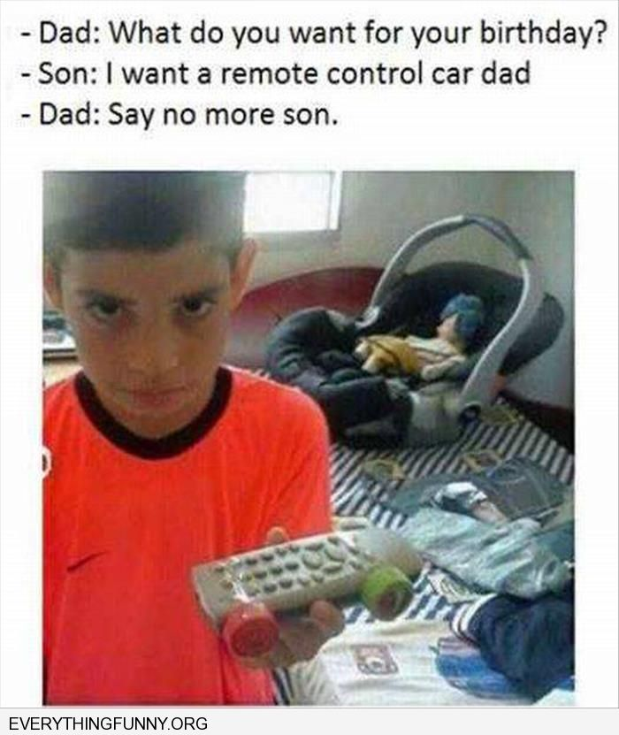 funny capton dad plays trick on son put wheels on remote control car