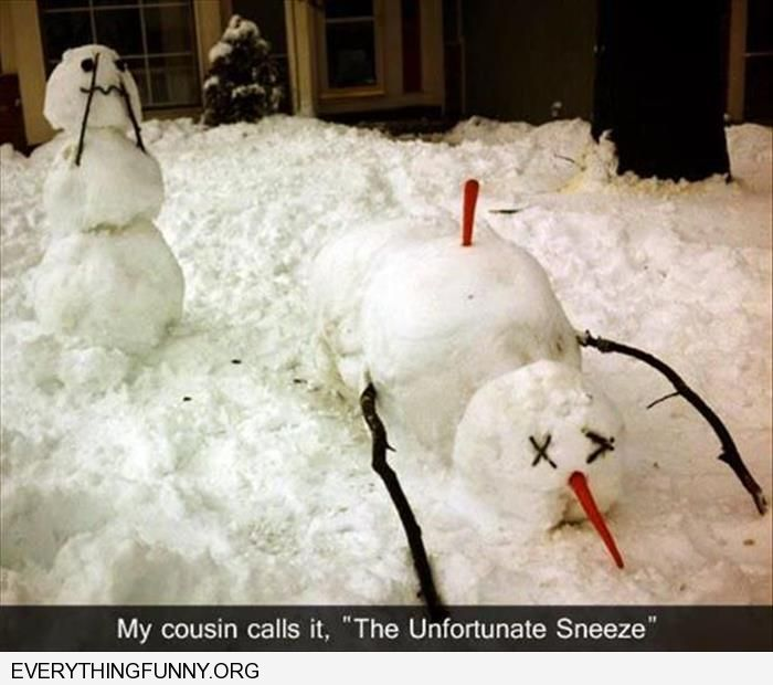 funny snowman the unfortunate sneeze carrot kills other snowman