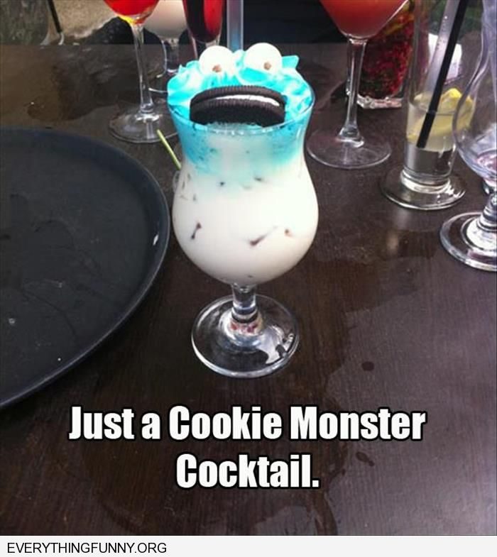 funny coookie monster cocktail
