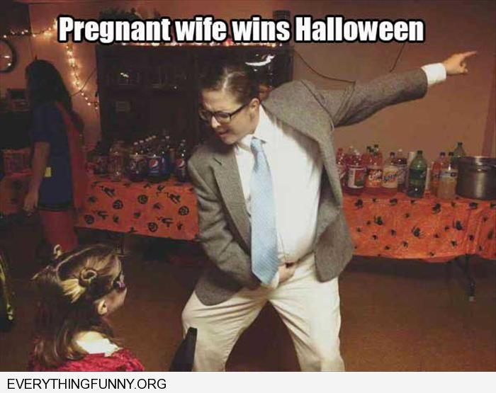 funny pregnant wife wins halloween dresses as Chris Farley
