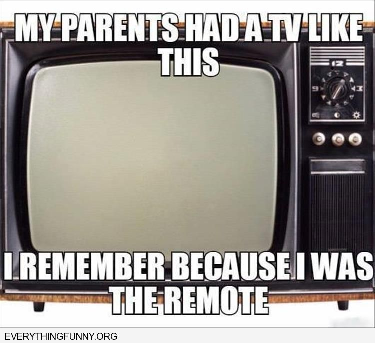 funny caption my parents had a tv like this i used to be the remote