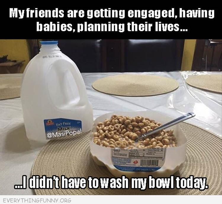 funny caption, cereal bowl made from bottom milk container, friends making major life decision, funny pictures, funny captions,