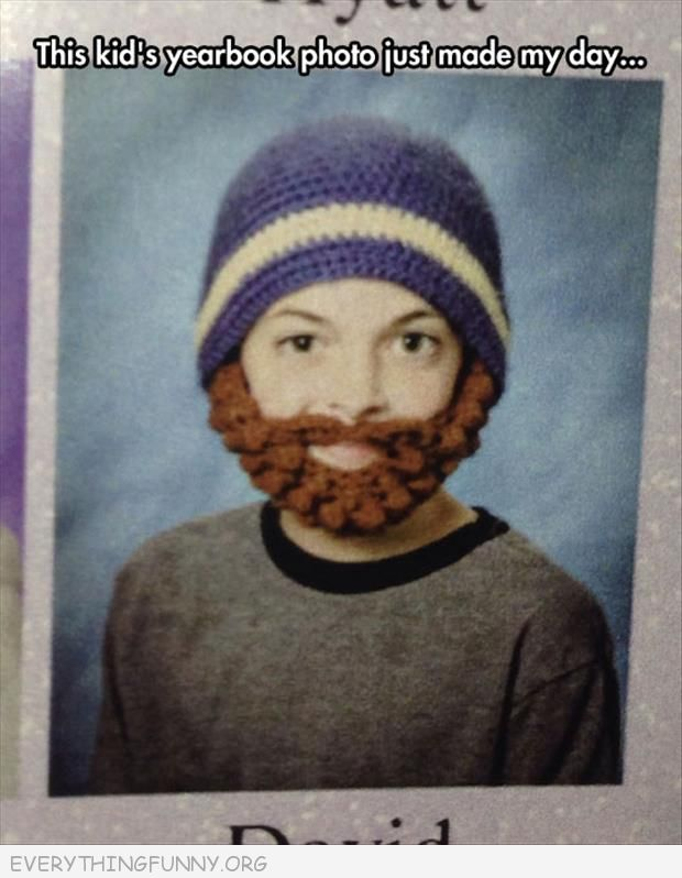 funny kid yearbook photo wore knitted hat and knitted beard
