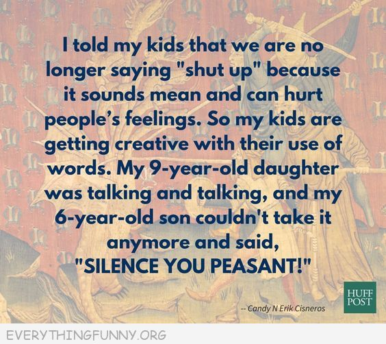 funny quote instead of saying shut up my son told  his sister silence you peasant