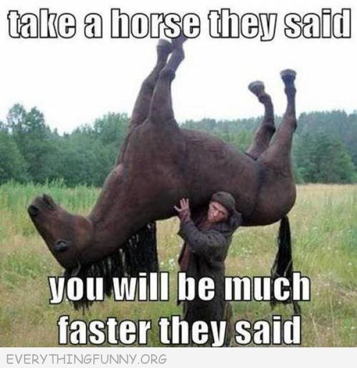funny caption man carrying a horse take a horse they said it would be fun they said everythingfunny.org