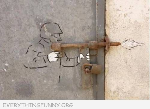 funny person draws soldier and turns lock into the gun