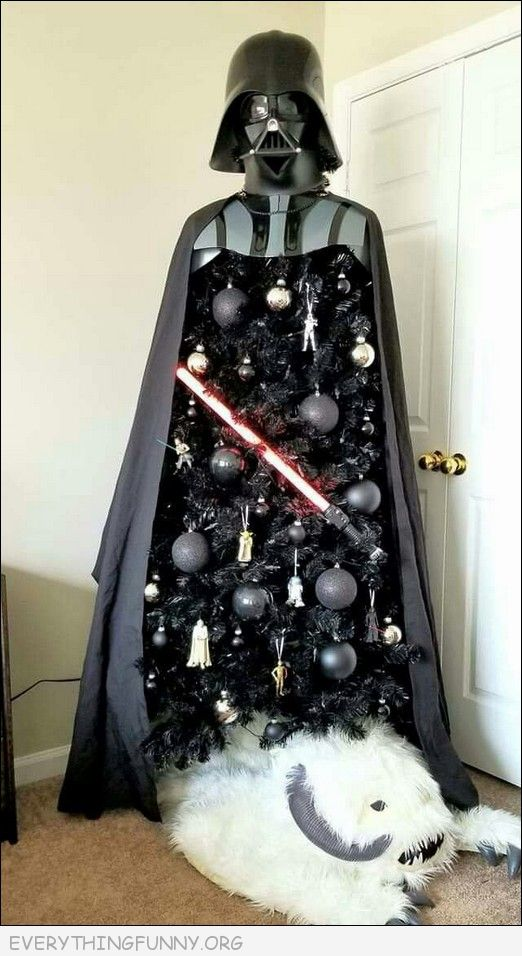 funny darth vadar Christmas tree, funny star wars tree, funny christmas tree,