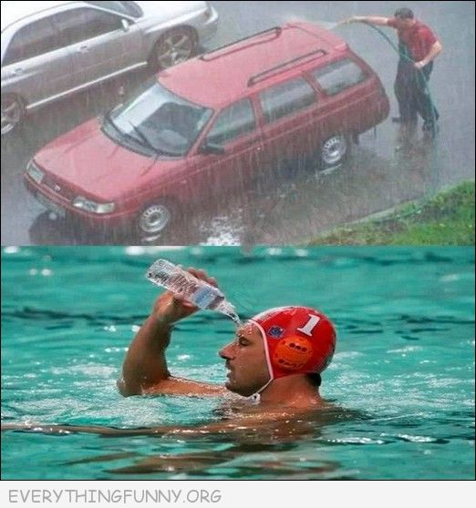 funny man washes car in rain, swimmer pours water on head in pool, funny fails,