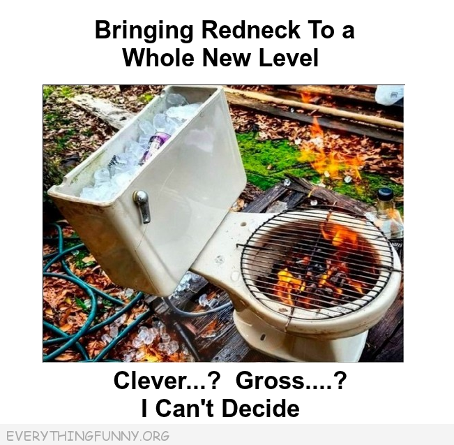 funny bbq barbeque made out of toilet bowl, funny redneck,