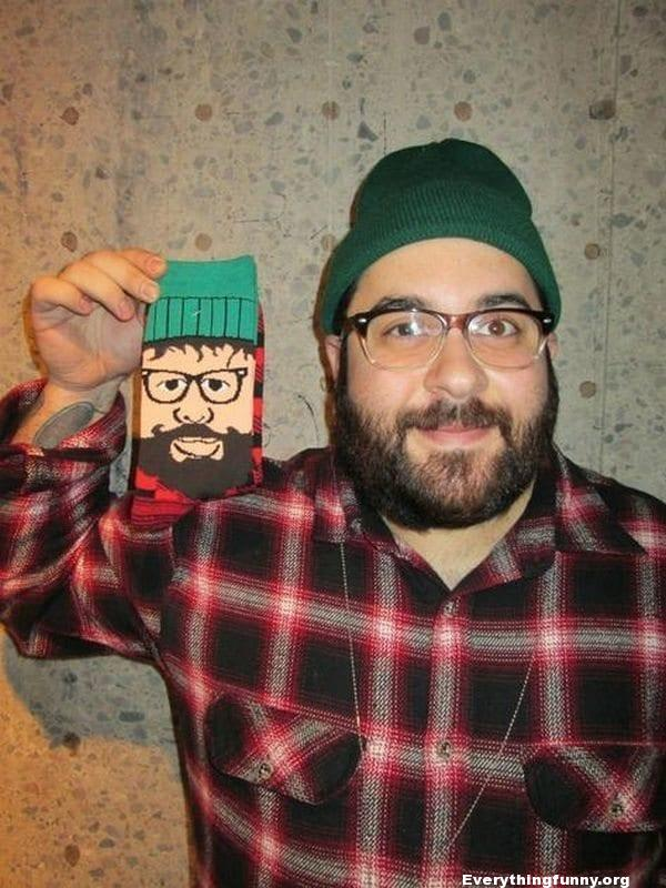 funny photo man looks exactly like picture on pair of socks cartoon