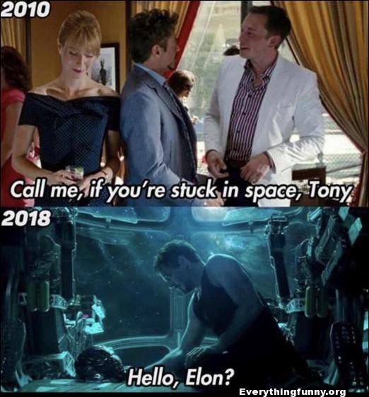 funny marvel caption call me if you ever stuck in space tony iron man hello elon