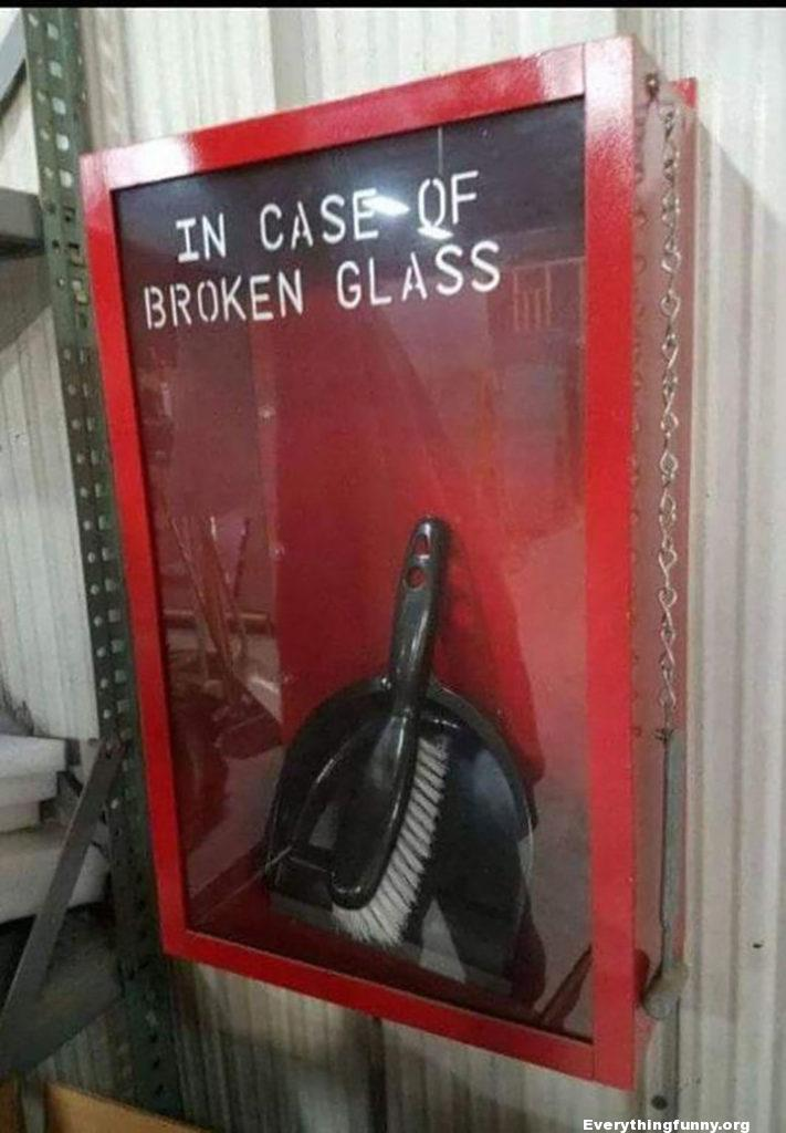 funny caption in case of broken glass someone puts broom and dustpan in wall closet