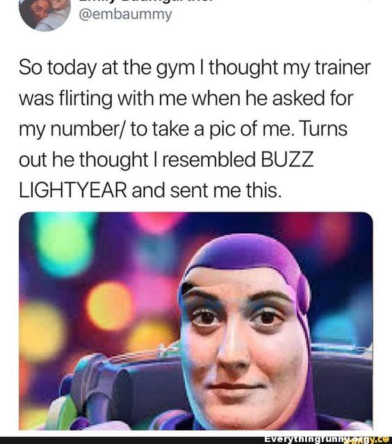 girl thinks guy wants her number for date finds out he thinks she looks like buzz lightyear