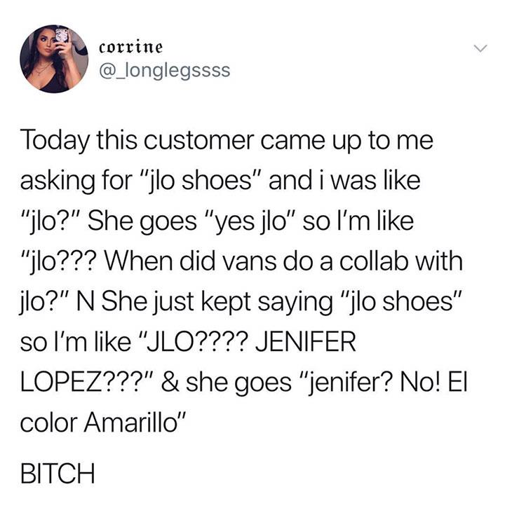 funny twitter funny post customer asking for jlo shoes meant color