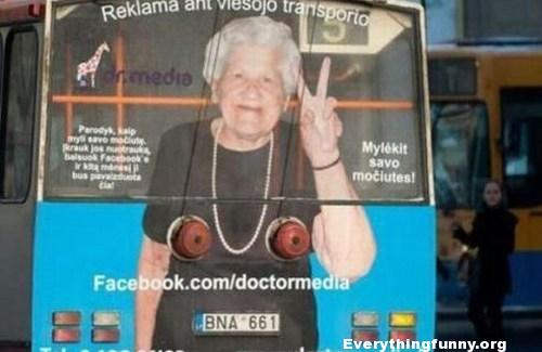 funny bus ad old lady looks like she has boobs