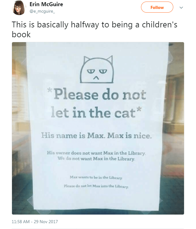 funny do not let cat in letter reads like a childrens book