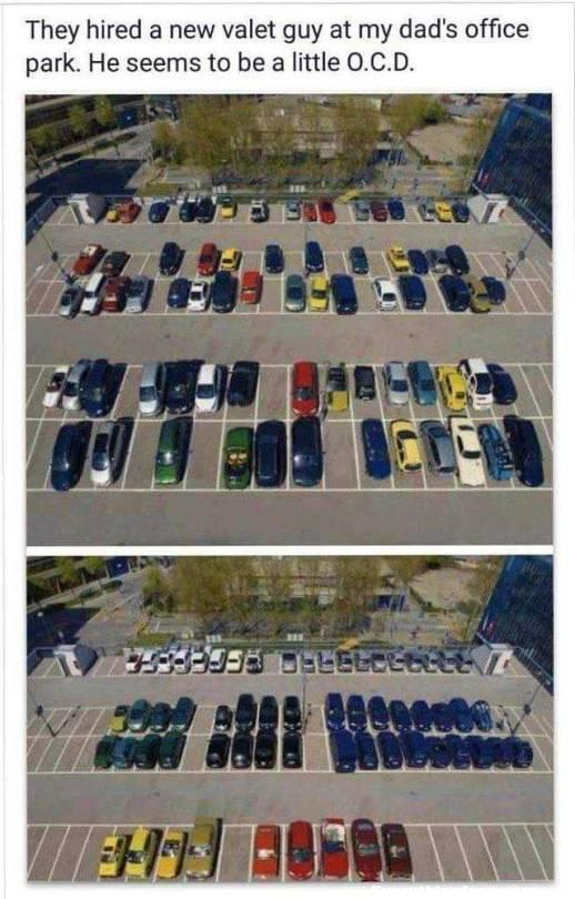 funny photo post parking guy parks cars by color order