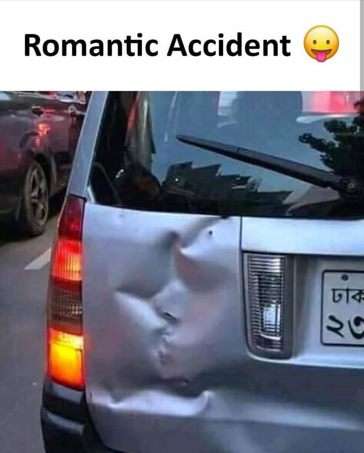 funny caption photo romantic accident dent looks like couple kissing everything funny