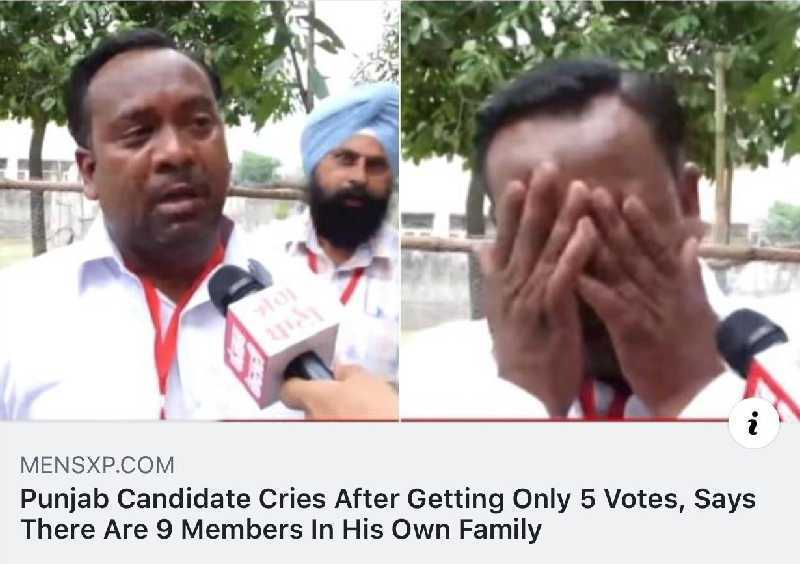 funny caption, funny photo, politician only gets 5 votes has 9 people in family