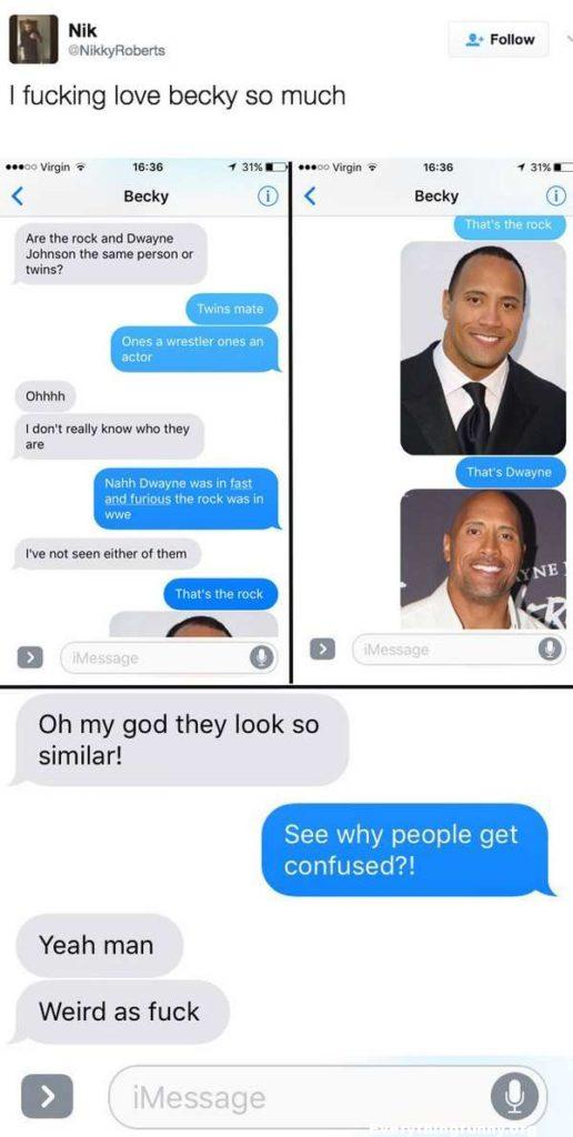 funny text message girl thinks the rock and dwayne johnson are  different people