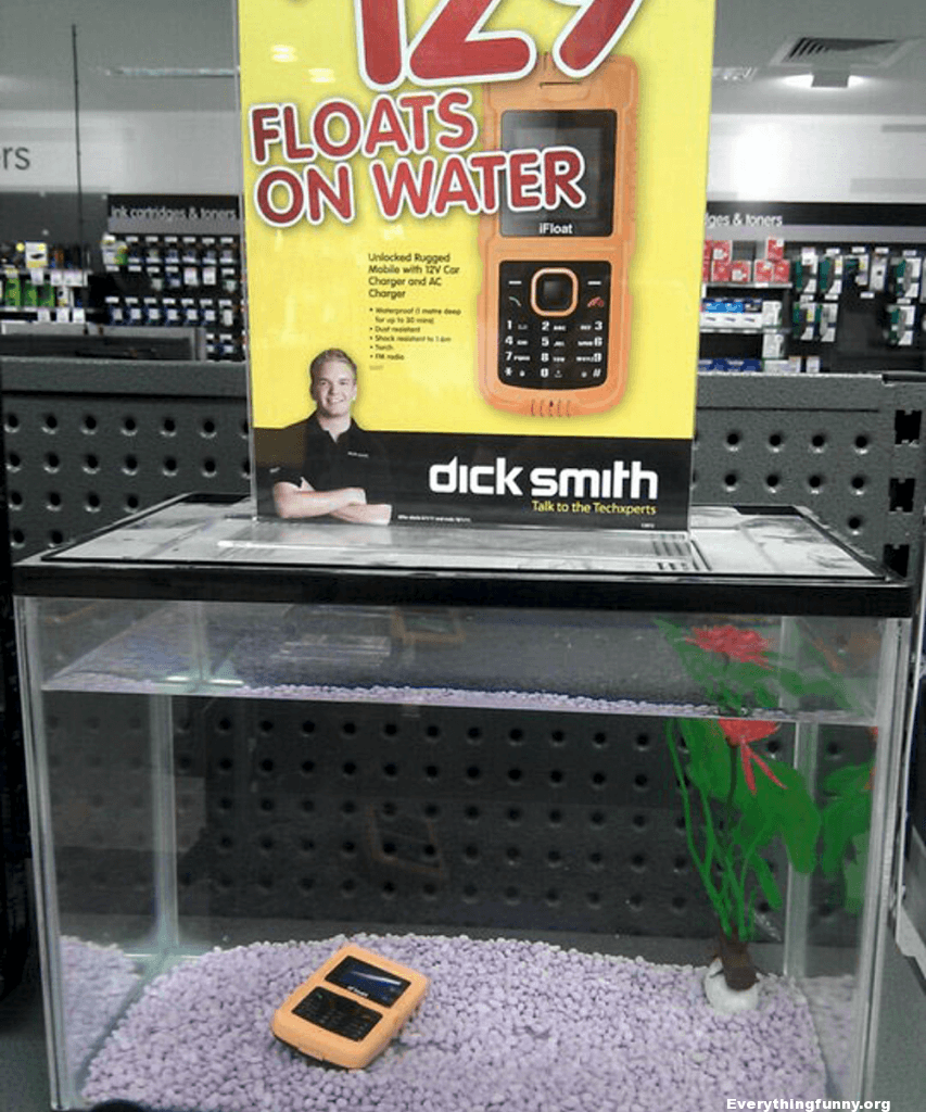 funny ad fail, funny fails phone that is supposed to float sinks in tank display
