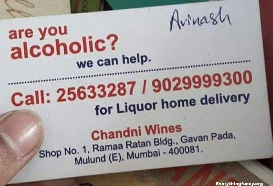 funny ad fail, funny fail business card are you an alcoholic we can help home delivery for liquor