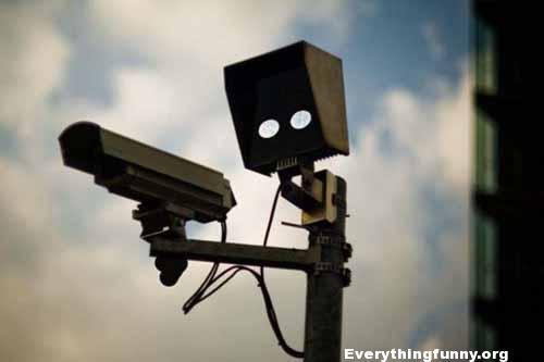 funny speed camera looks like armed person ready to shoot