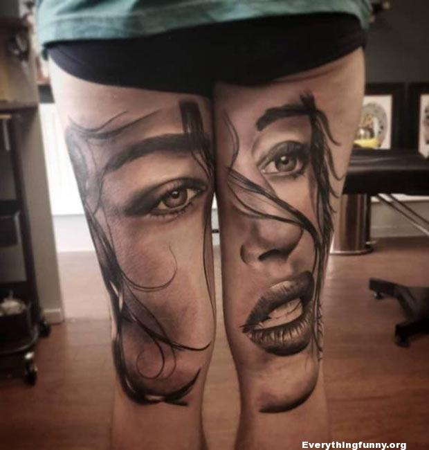 this is either the best tattoo or worst tattoo I have ever seen i can't decide woman's face across both legs