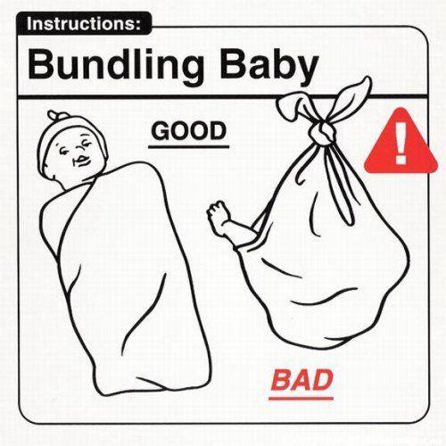 funny cartoon funny sign bundling baby good and bad