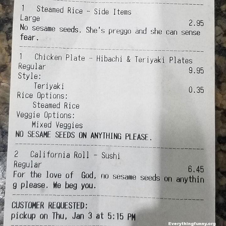 funny receipts, funny request receipts, no sesame seeds written 3 times
