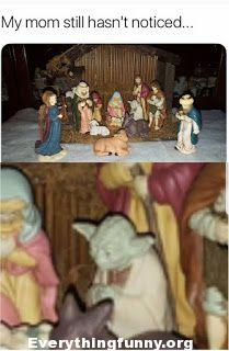 funny child places Yoda figure in nativity scene - mom hasn't noticed yet