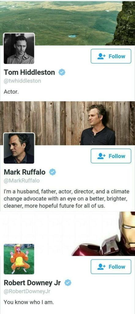 funny marvel memes, funny marvel tweets, tom hiddleson actor, mark ruffalo husband father actor director robert downey jr you know who i am funny robert downey jr tweet