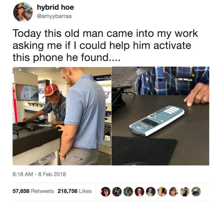 funny tweet, funny post this old man came into my work asking me if i could help him activate the phone he found it is a calculator