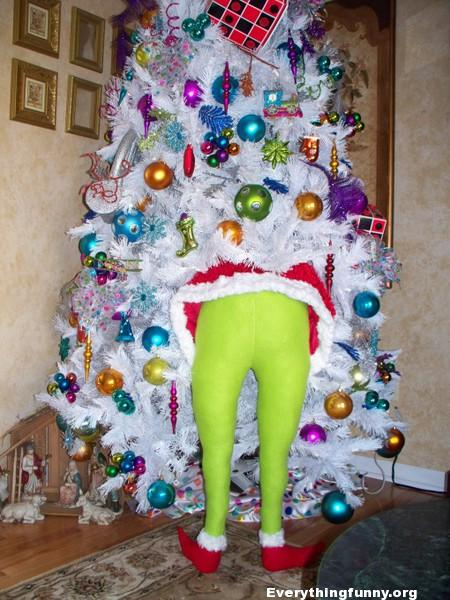 funny christmas tree idea put grinch costume in legs in tree to make it look like he is stealing it, funny christmas decor