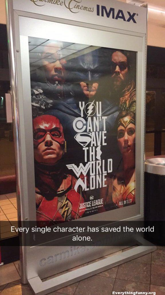 funny caption funny marvel meme you can't save the world alone every single character saved the world alone irony