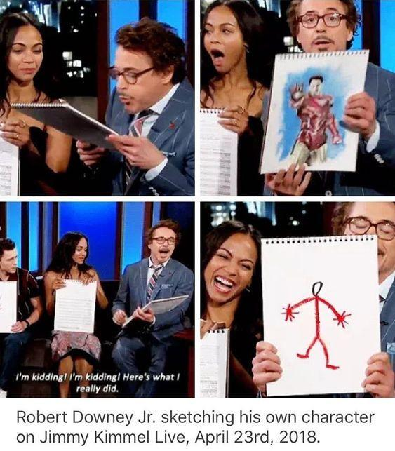funny caption robert downey jr on kimmel drawing picture of himself as iron man, stick figure funny clip funny marvel meme,