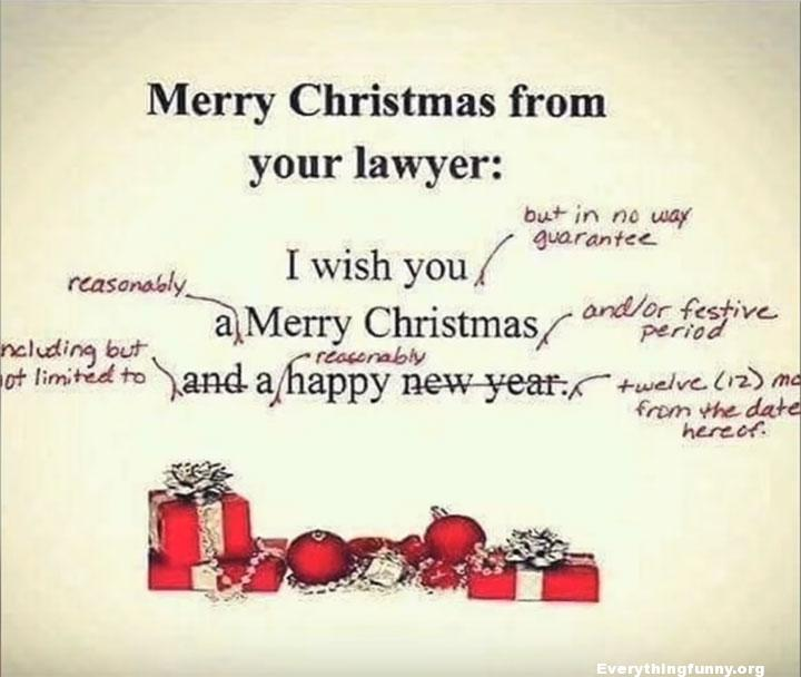 funny cards, funny picture, funny christmas card from lawyer with corrections and legal terms