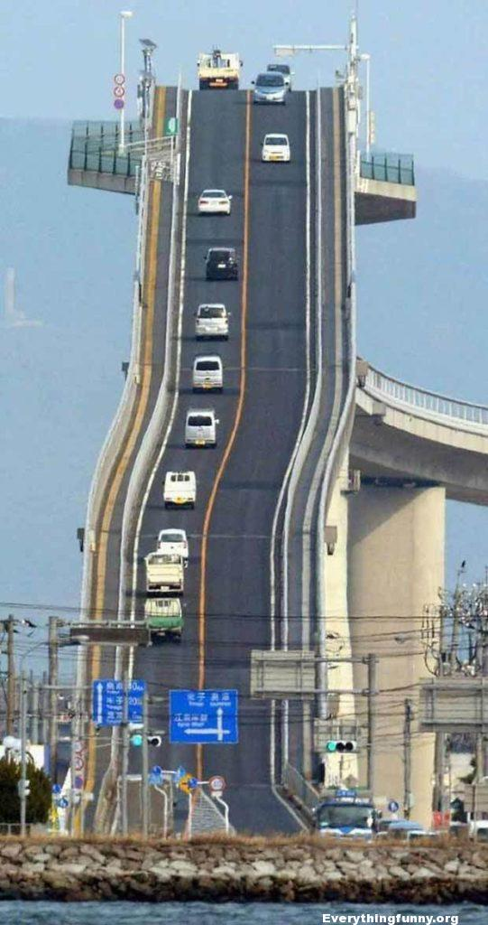 funny picture steepest tallest bridge in the world Japan nope