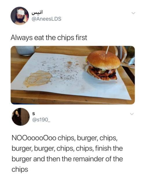 funny post status eat the chips first no burger chips burger chips