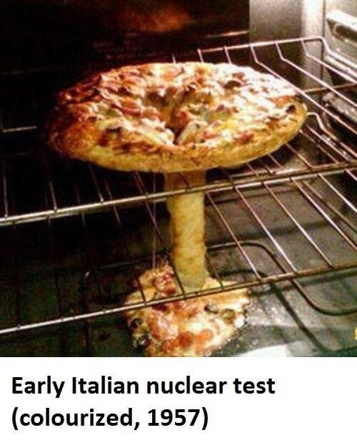 funny pizza collapse in oven looks like nuclear blast