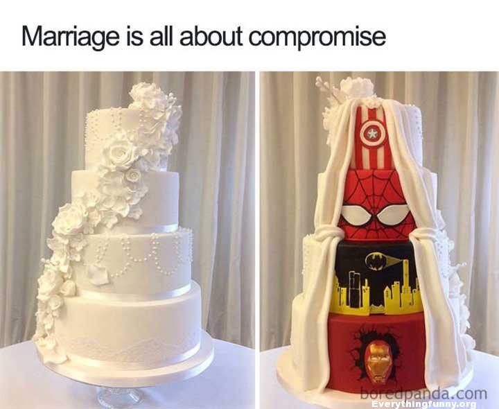 funny caption marriage is about compromise beautiful wedding cake one side marvel cake on the other