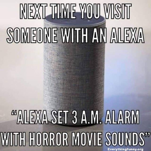 funny prank caption next time you visit someone with an Alexa tell Alexa to set 3 a.m. alarm with horror movie sounds