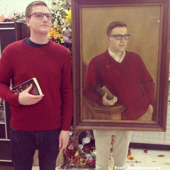 funny picture funny photo picture at thrift store looks exactly like visitor red sweater glasses holding book